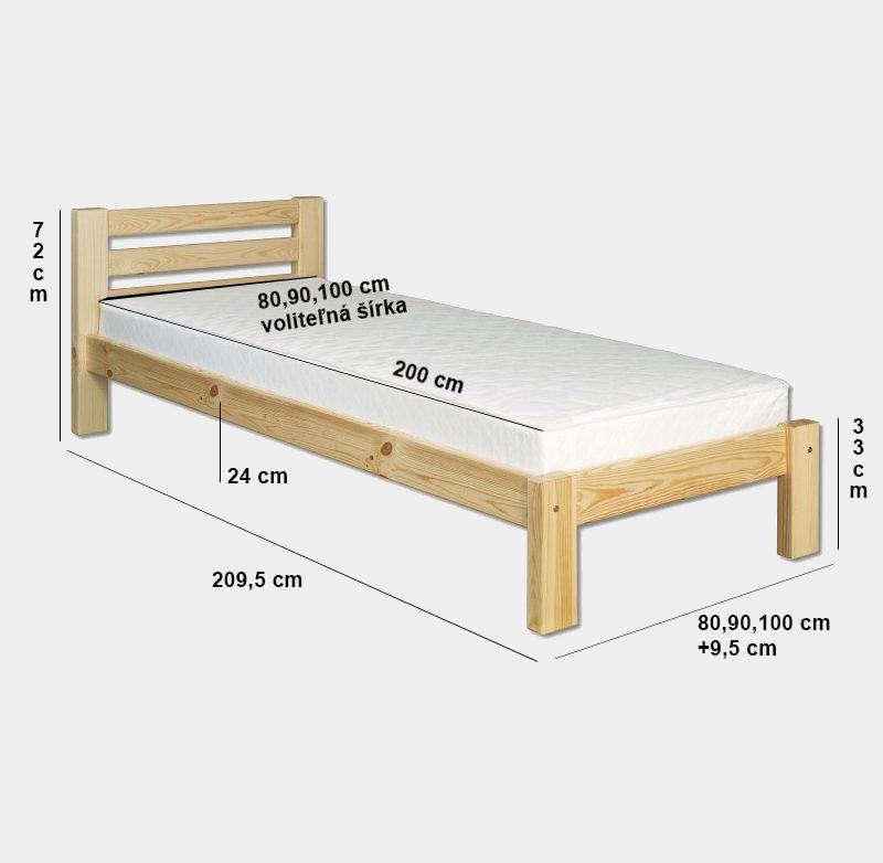 b63fdbee26686 Drevená posteľ s roštom jednolôžková | lacne-postele.sk